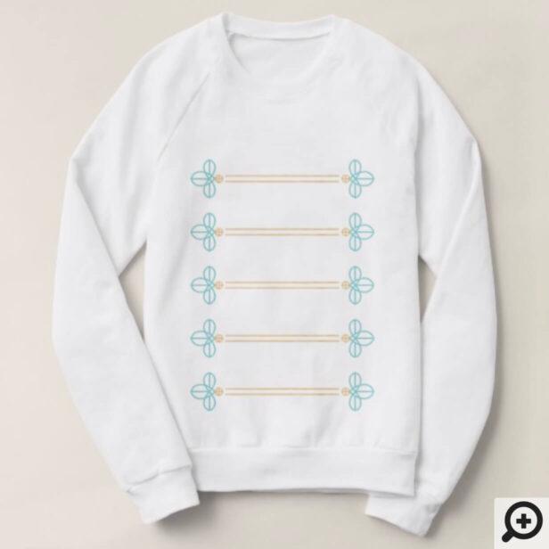 Gold and Blue Nutcracker Button Detail Pattern Sweatshirt