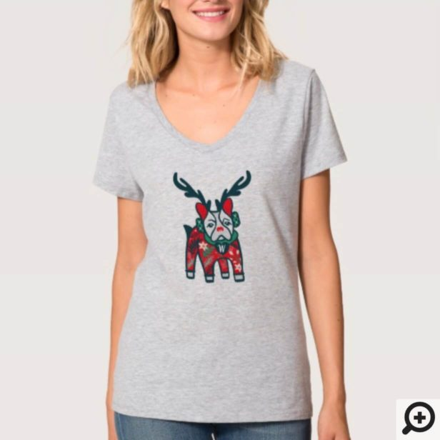 Stay Cozy | French Bulldog Reindeer Christmas T-Shirt