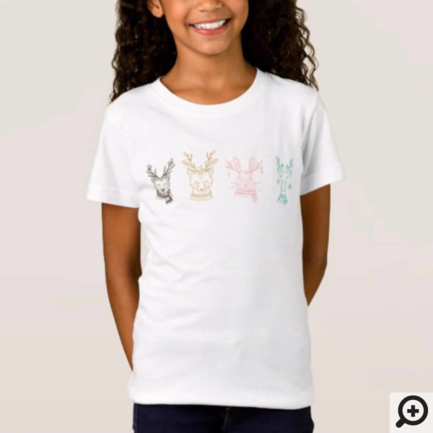 Modern Etched Style Woodland Animals Christmas T-Shirt