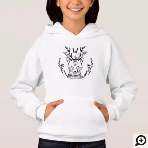 Festive Holiday Fox Etching Family Monogram Hoodie