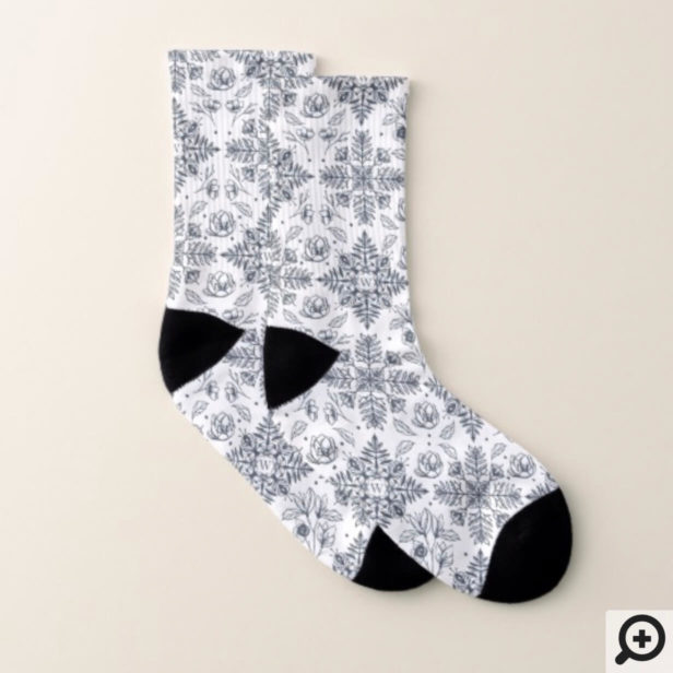 Elegant Vintage Winter Foliage Snowflake Monogram Socks