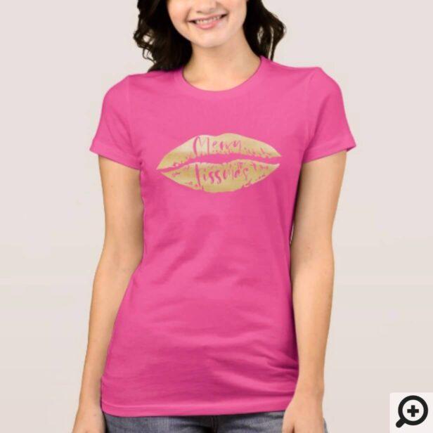 Merry kissmas Stylish Brush Script Gold Lips T-Shirt