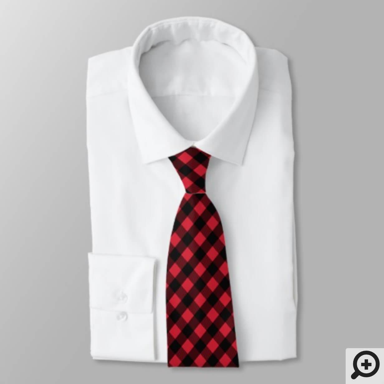 Cozy & Warm | Red Buffalo Plaid Pattern Neck Tie