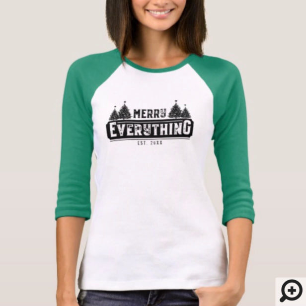 Merry Everything | Black Vintage Christmas Tree T-Shirt