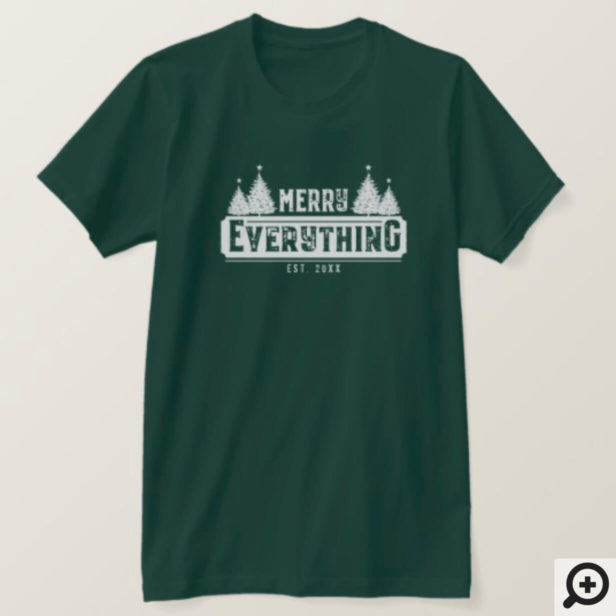 Merry Everything | White Vintage Christmas Tree T-Shirt