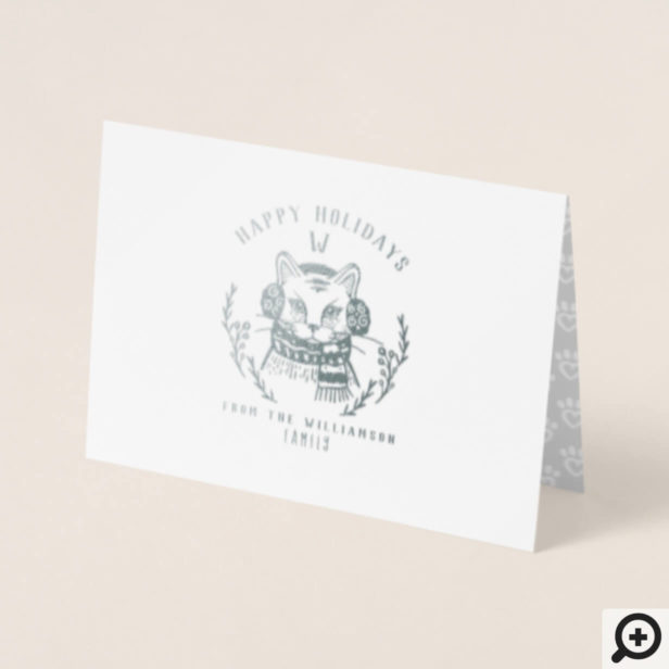 Festive Holiday Kitty Cat Etching Family Monogram Foil Card