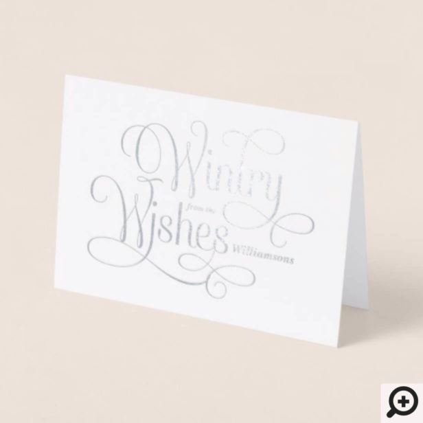 Wintry Wishes | Elegant Multiple Photos Christmas Foil Card