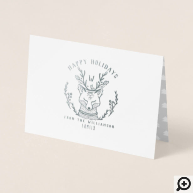 Festive Holiday Winter Fox Etching Family Monogram Foil Card