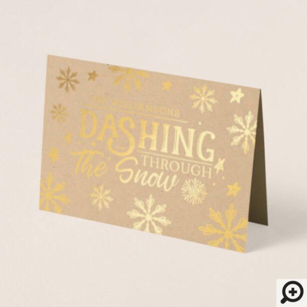 Dashing Through The Snow Christmas Family Photo Foil Card