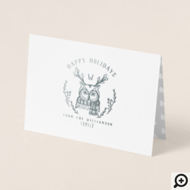 Festive Holiday Winter Owl Etching Family Monogram Foil Card
