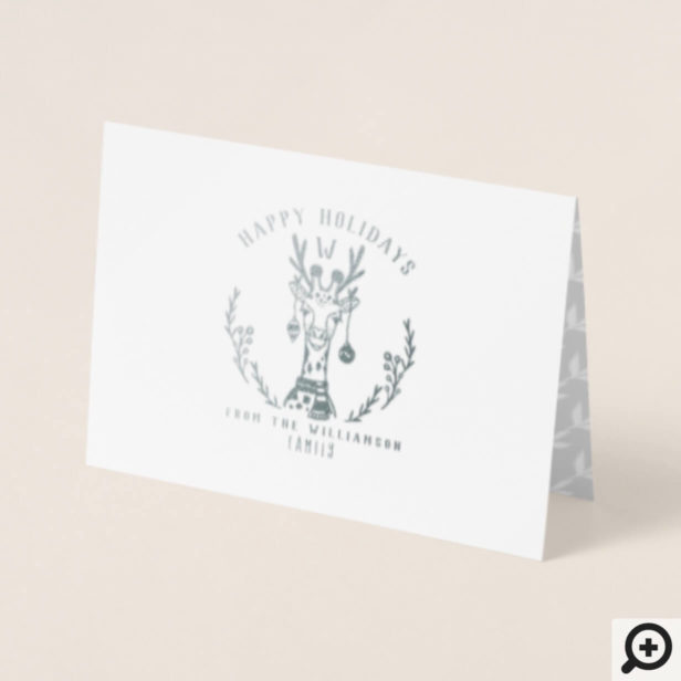 Festive Holiday Giraffe Etching Family Monogram Foil Card