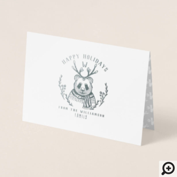 Festive Holiday Panda Bear Etching Family Monogram Foil Card