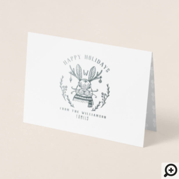 Festive Holiday Bunny Etching Family Monogram Foil Card