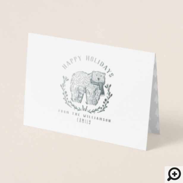 Festive Holiday Polar Bear Etching Family Monogram Foil Card