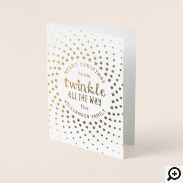 Magical Christmas Twinkle All The Way Family Photo Foil Card