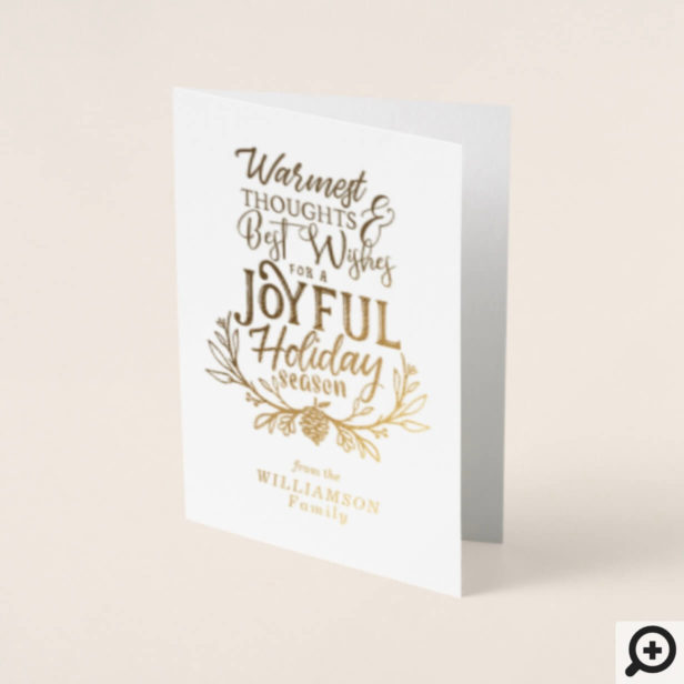 Joyful Holiday Season Typographic Holiday Design Foil Card