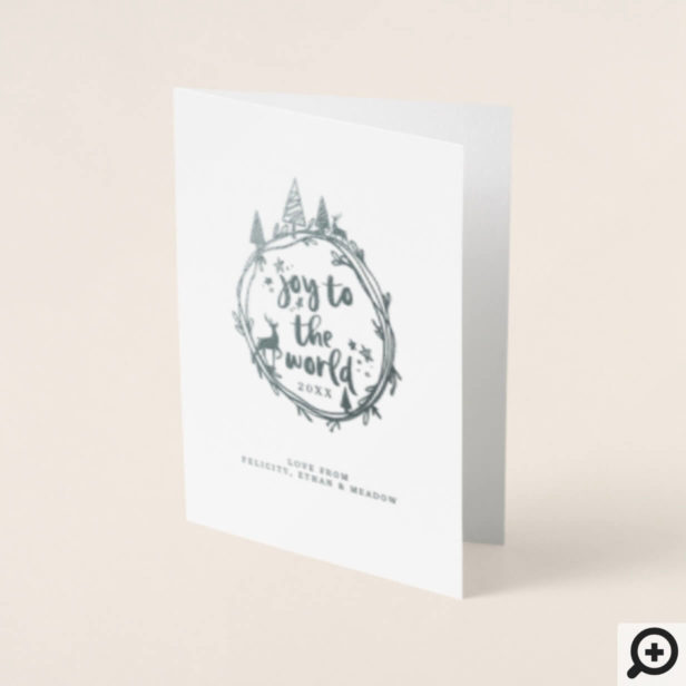 Joy To The Word | Holiday Multiple Family Photo Foil Card