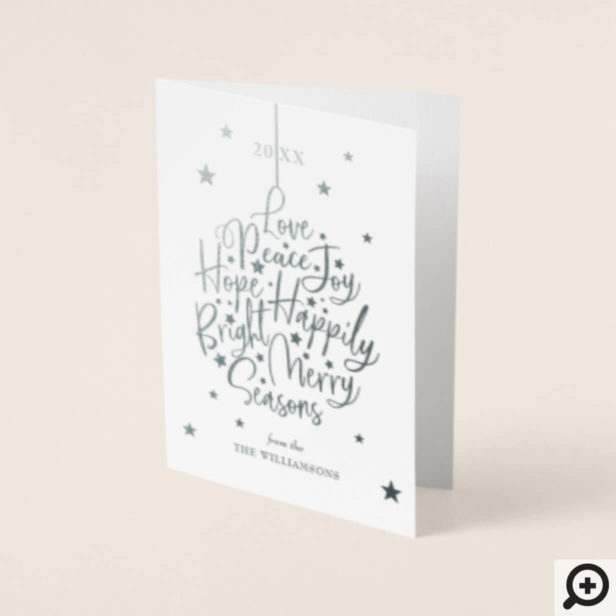Starry Night Typography Ornament Christmas Photo Foil Card