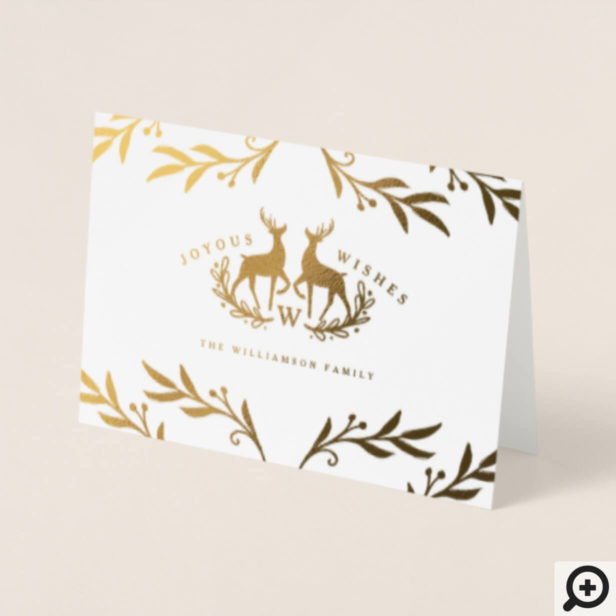 Joyous Wishes Reindeer Family Crest Holiday Photo Foil Card