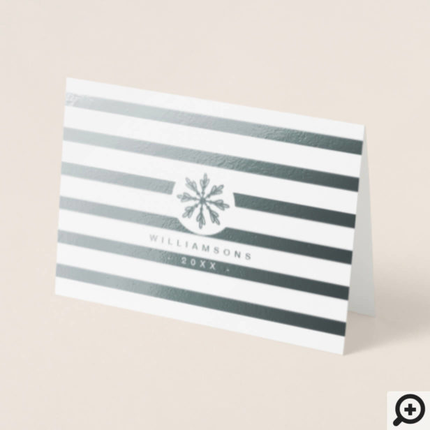 Modern Minimal Snowflake & Stripes Holiday Photo Foil Card