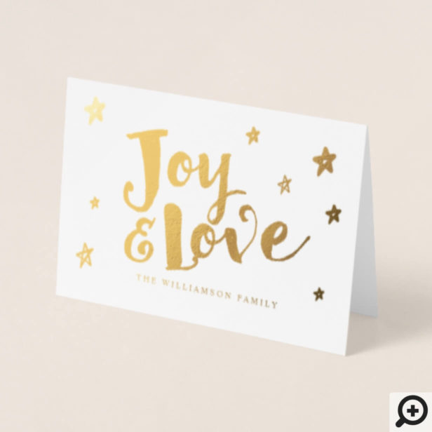 Modern Elegant Minimalistic Joy & Love Starry Foil Card