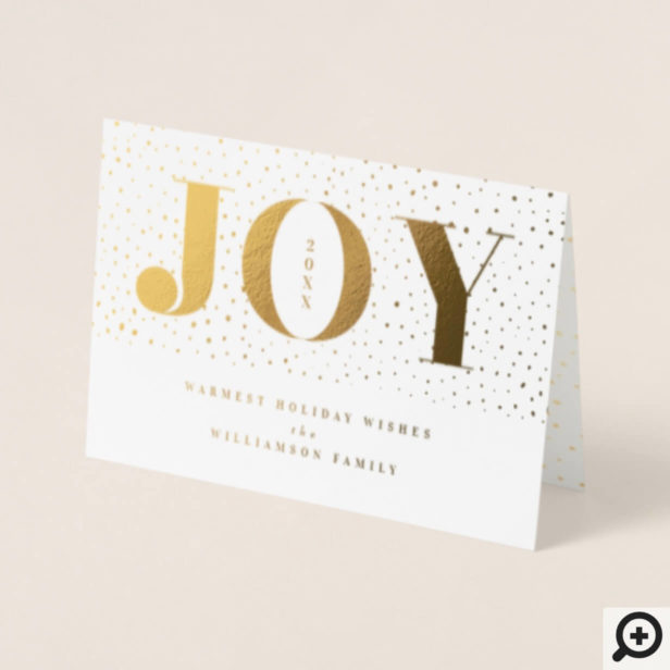 Joy & Gold Snow Confetti Holiday Family Photo Foil Card