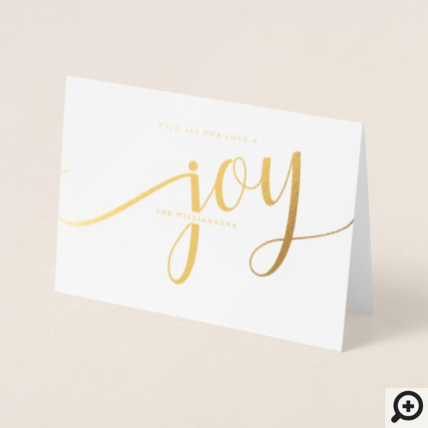 Modern Elegant Minimalistic Joy Holiday Foil Card