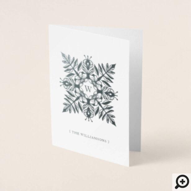 Elegant Leaf Foliage Snowflake Christmas Monogram Foil Card