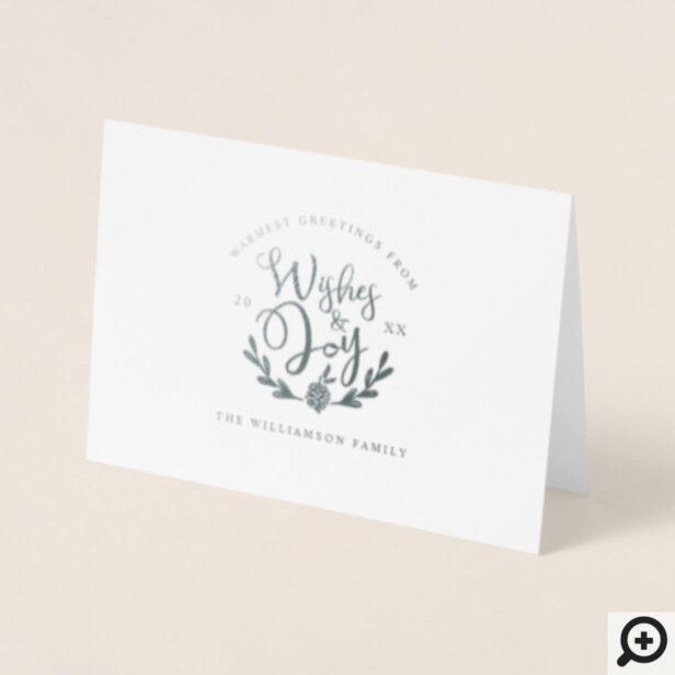 Modern Script Typography Family Laurel Crest Foil Card