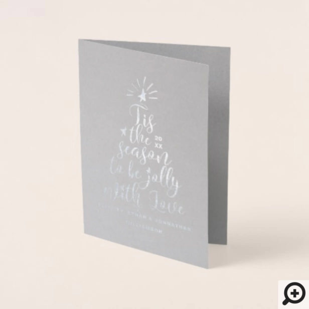Modern Script Typography Christmas Tree Holiday Foil Card