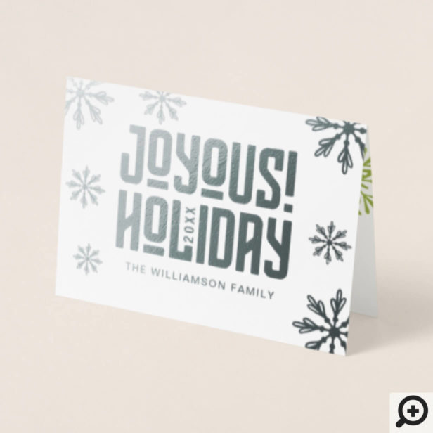 Joyous Holiday | Bright & Fun Typographic Photo Foil Card