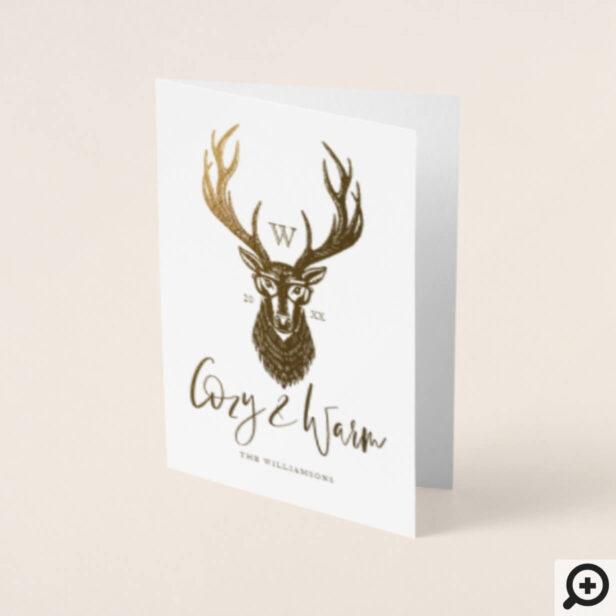Cozy & Warm   Red Buffalo Plaid Reindeer Monogram Foil Card