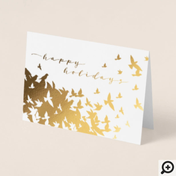 Flock of Soaring Doves Flying in the Sky | Holiday Foil Card