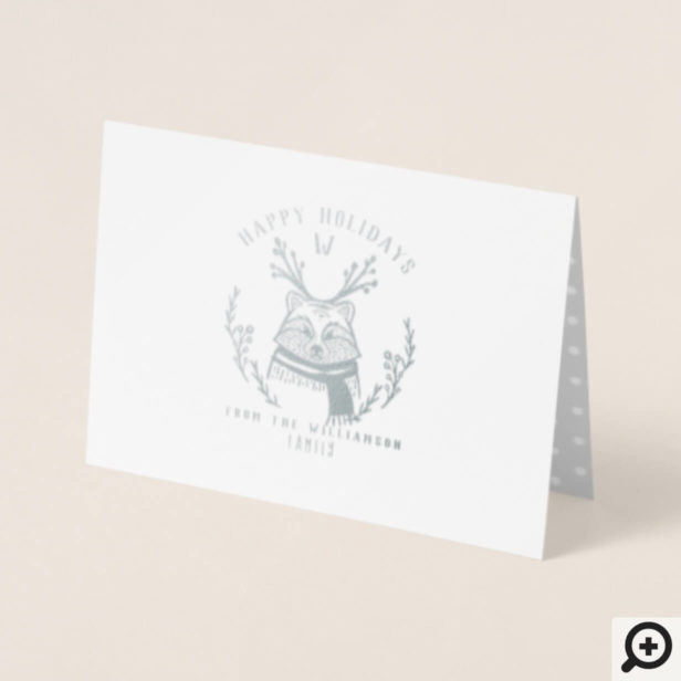 Festive Holiday Raccoon Etching Family Monogram Foil Card