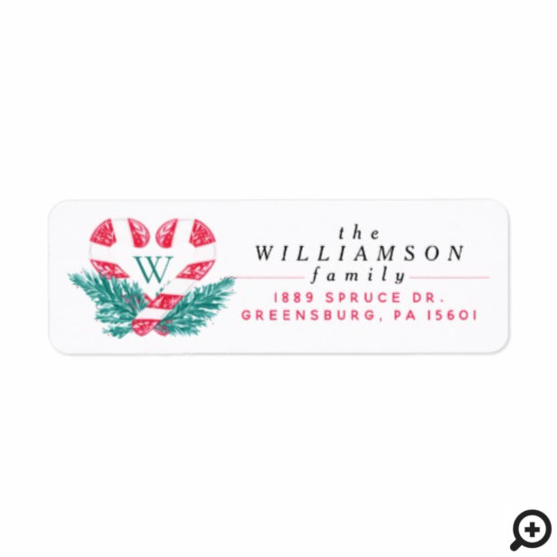 Candy Cane Heart Green Pine Christmas Crest Label