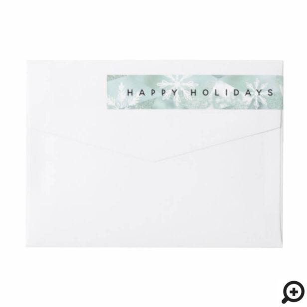 Happy Holidays Snowflake & Shimmer Mint Geometric Wrap Around Label