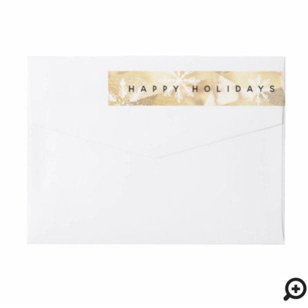 Happy Holidays Snowflake & Shimmer Gold Geometric Wrap Around Label