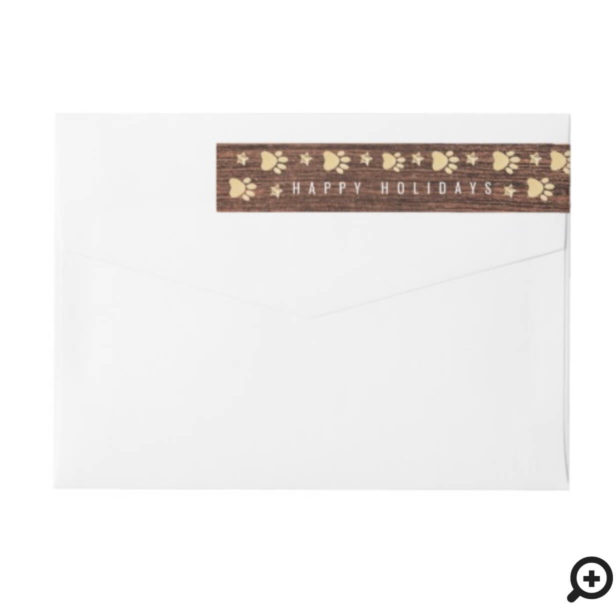 Rustic Wood Country Gold Pet Paw Print Pattern Wrap Around Label
