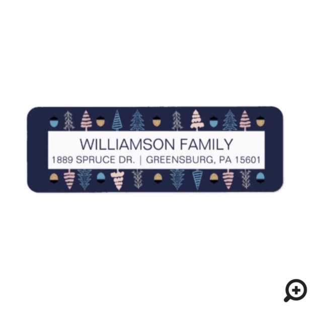 Modern Festive Navy Holiday Pine Trees & Pinecones Label