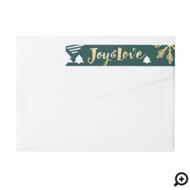 Joy & Love | Trendy Green Gold Pine & Snowflakes Wrap Around Label