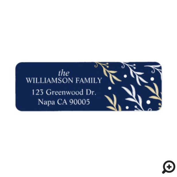 Elegant Baby blue and gold leaf branches and Snow Label