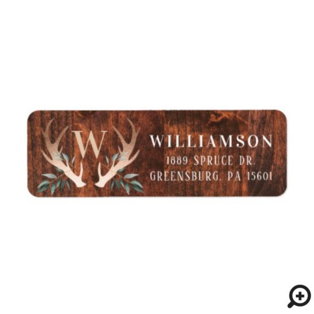 Rustic Wood Deer Antler & Greenery Family Monogram Label