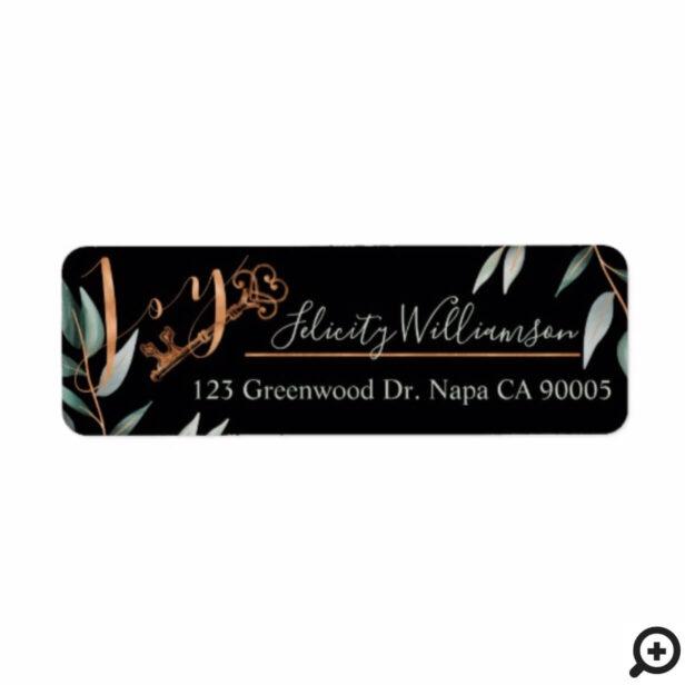 Elegant Joy & Antique Key & Sage Greenery Accent Label