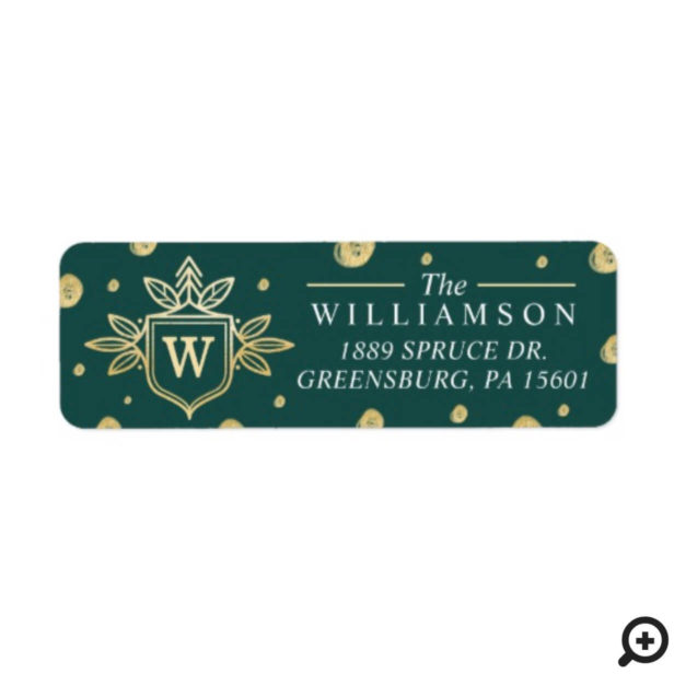 Christmas tree and leaves Monogram Family Crest Label