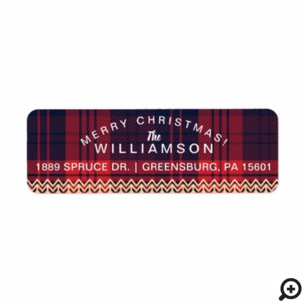 Red & Blue Plaid | Chevron Christmas Tree Pattern Label