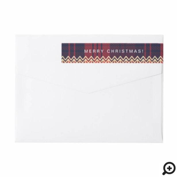 Red & Blue Plaid | Chevron Christmas Tree Pattern Wrap Around Label