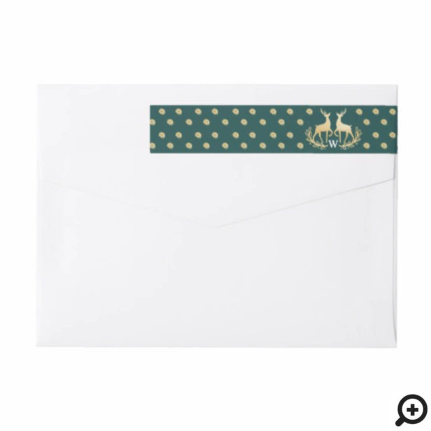 Elegant Gold Polka Dot Raindeer Crest Monogram Wrap Around Label
