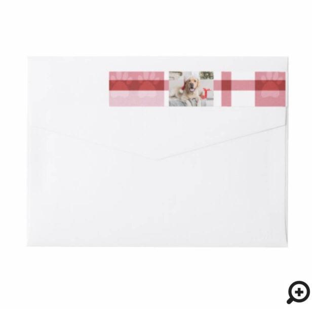 Cozy Red & White Plaid Paw Print Pet Photo Wrap Around Label