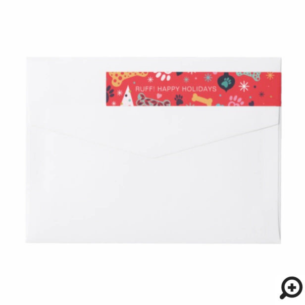Colourful Bone, Paw Print, Snowflake Pet Pattern Wrap Around Label