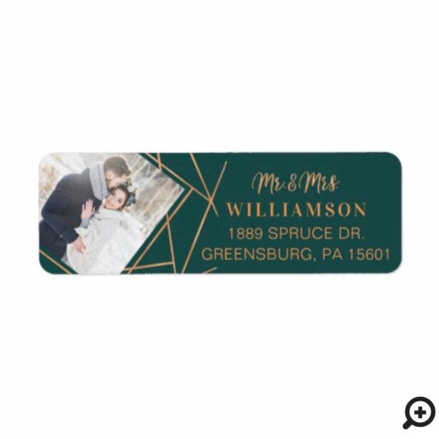 Mr & Mrs Christmas | Modern Copper Geometric Photo Label